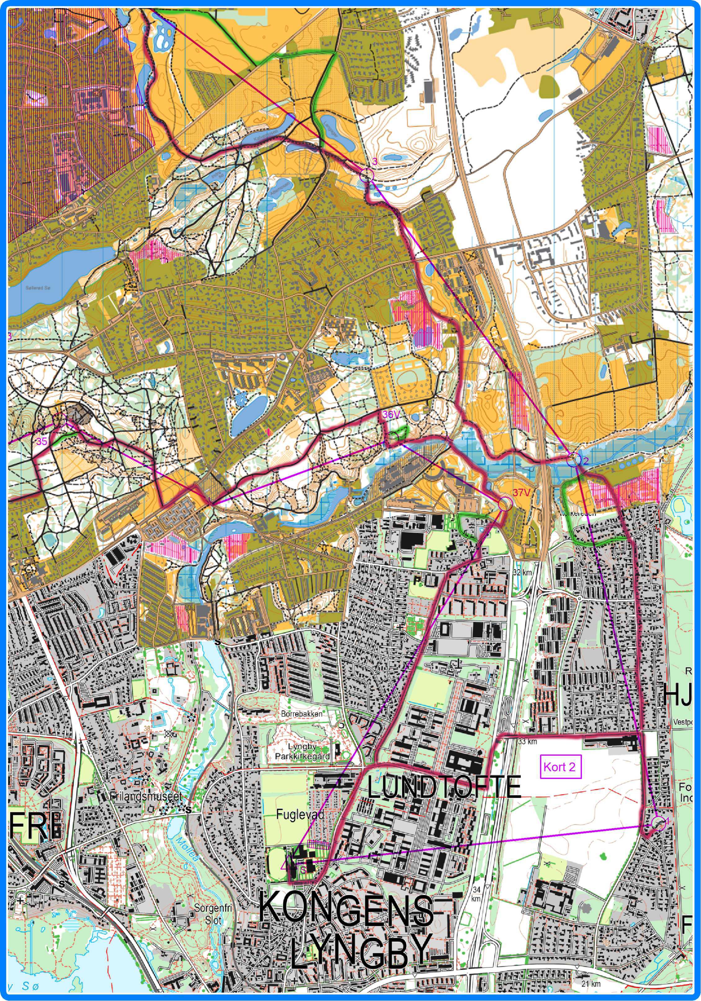 Kort 2 - med vejvalg - rød er planlagt - grøn er reelt vejvalg hvor det afviger