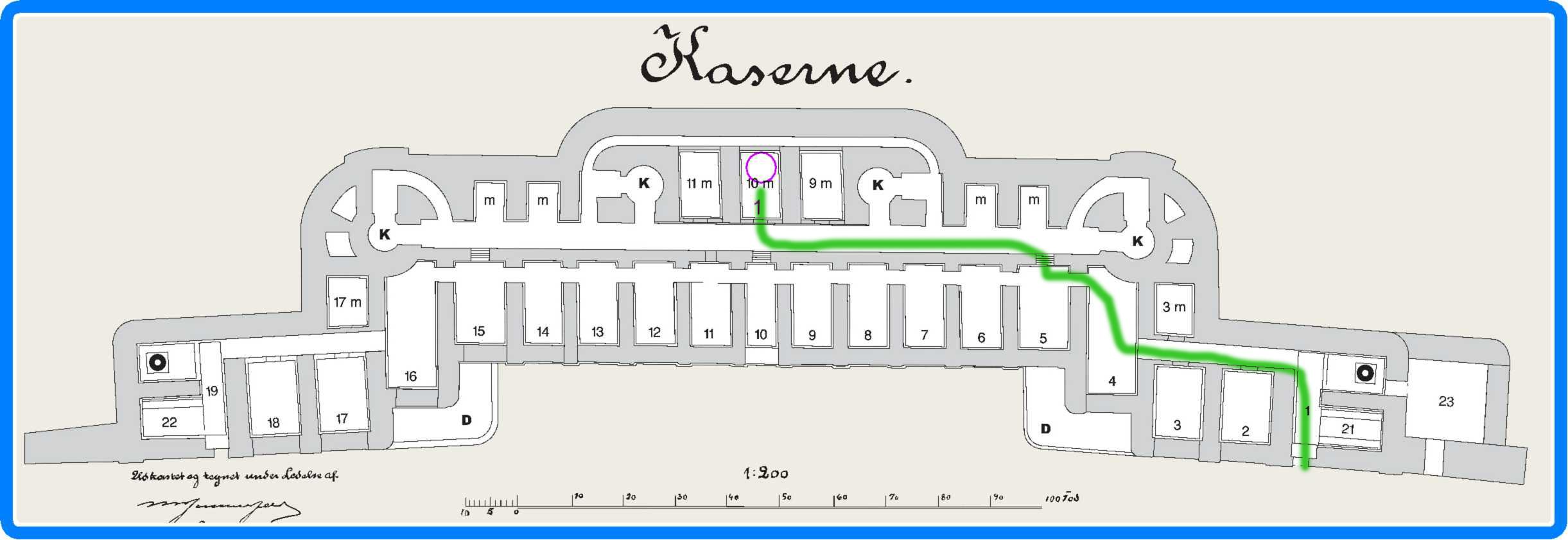 Kort 3 - med vejvalg - rød er planlagt - grøn er reelt vejvalg hvor det afviger