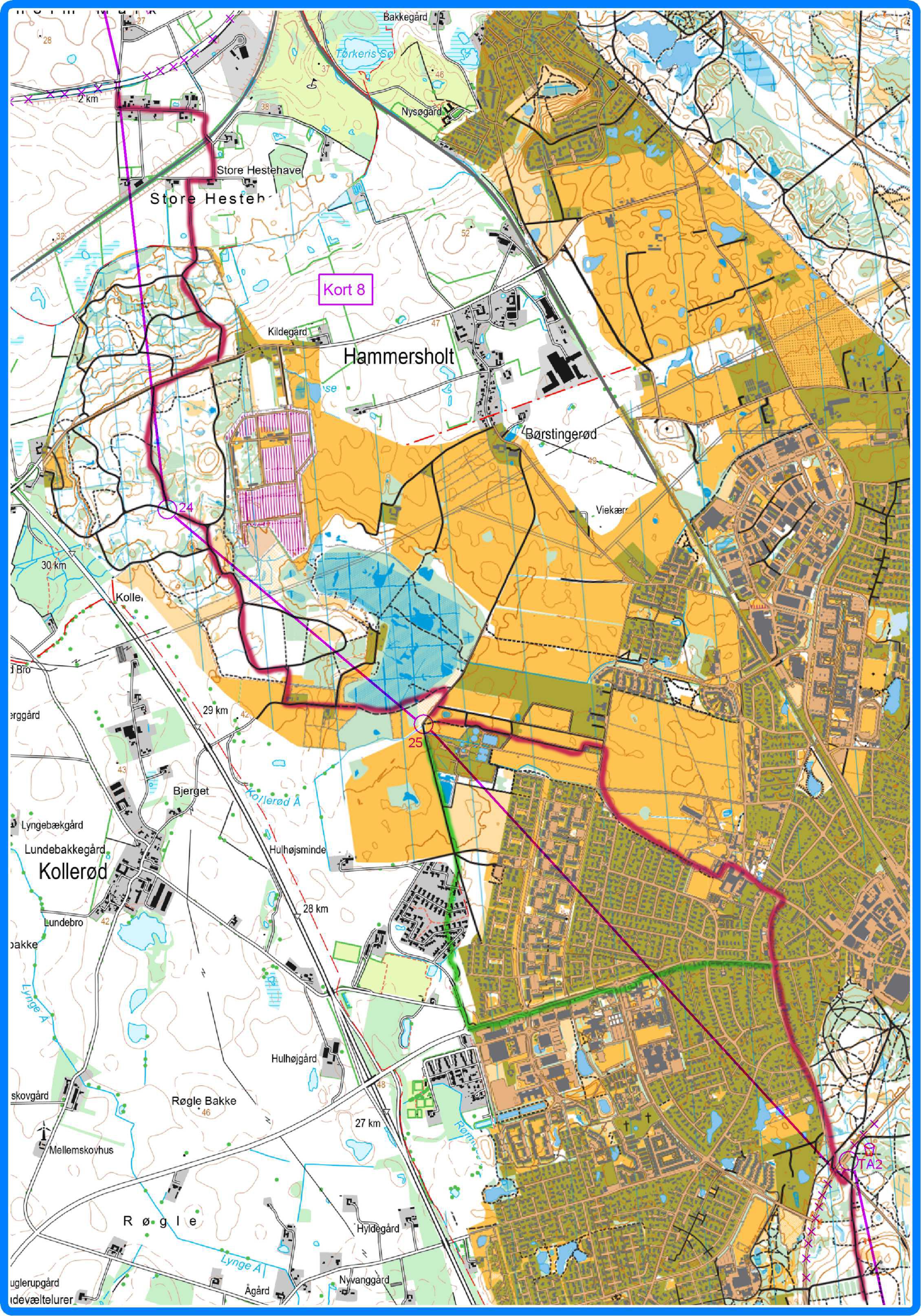 Kort 8 - med vejvalg - rød er planlagt - grøn er reelt vejvalg hvor det afviger