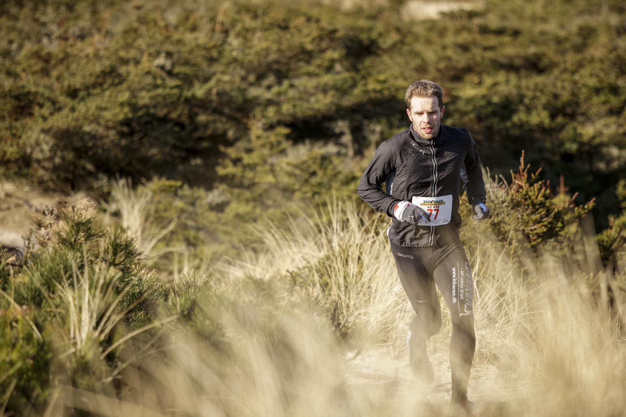 10 km til mål på Thy Trail Marathon 2013.  Foto: Martin Paldan
